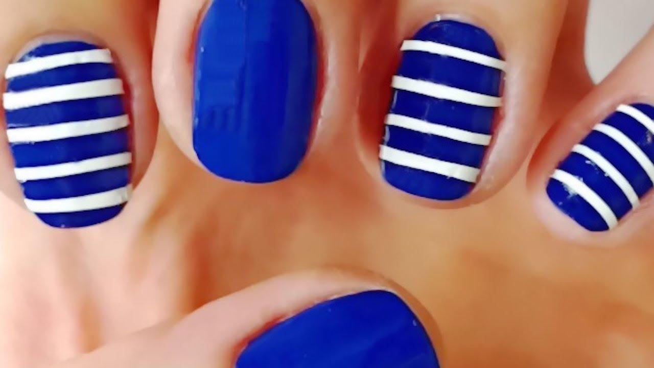 Sailor Nails - Nail Art Designs, Blue nail art tutorial ...