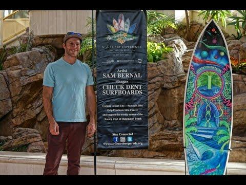 """Cosmic Wave"" Surfboard Art on Display by Sam Bernal"