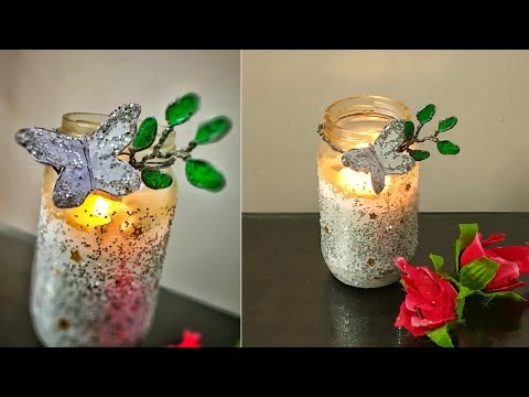 Tea light Candle holder DIY| Glass jar decoration ideas| Mason jar craft| glass jar Candle crafts