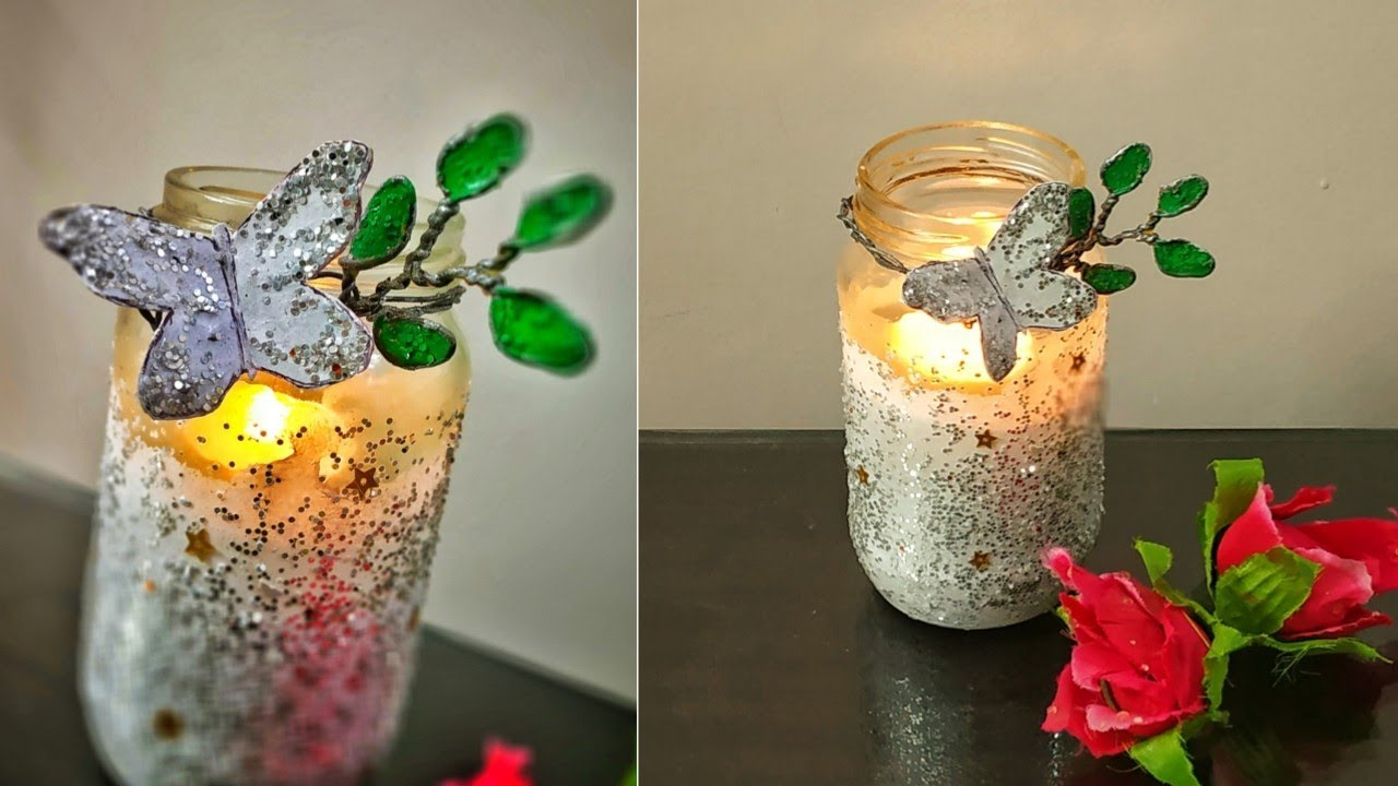 Tea Light Candle Holder Diy Glass Jar Decoration Ideas Mason Jar Craft Glass Jar Candle Crafts Youtube