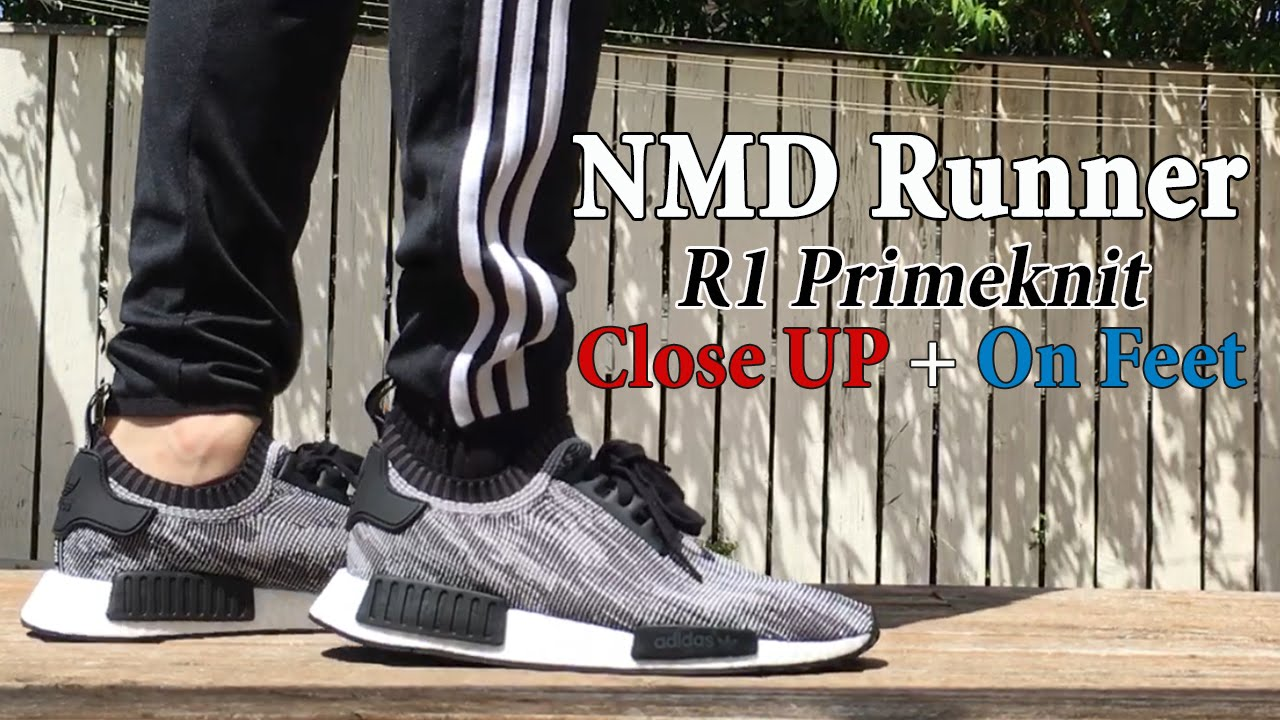 Espinoso trompeta Fuerza motriz  Adidas NMD Runner R1 Primeknit Detailed Close Up + On Feet w/ Different  Pants - YouTube