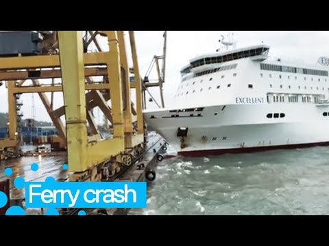 Ferry Smashes into Barcelona Dock - Giant Crane Falls Over