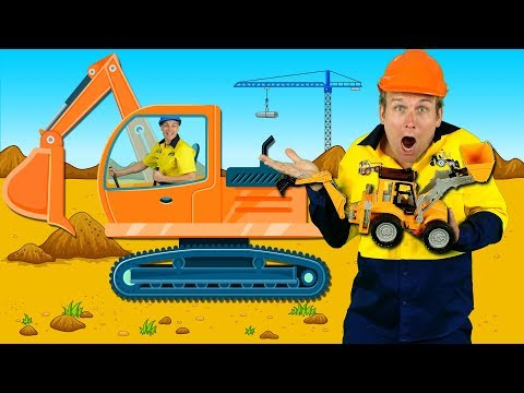 """""""Construction Machines"""" Kids Song - Diggers, Trucks, Backhoe, Construction Toys"""