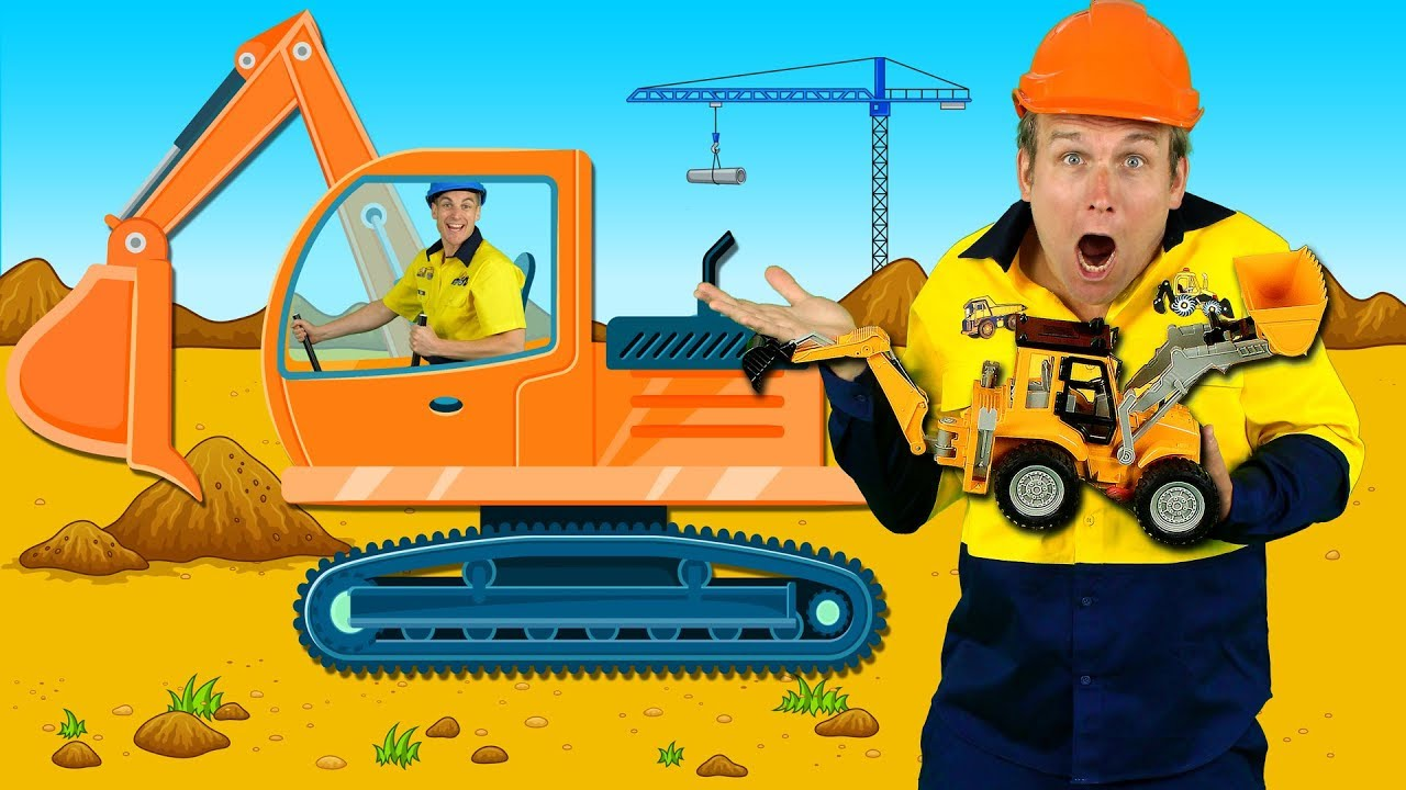 Construction Machines Kids Song - Diggers, Trucks, Backhoe, Construction Toys