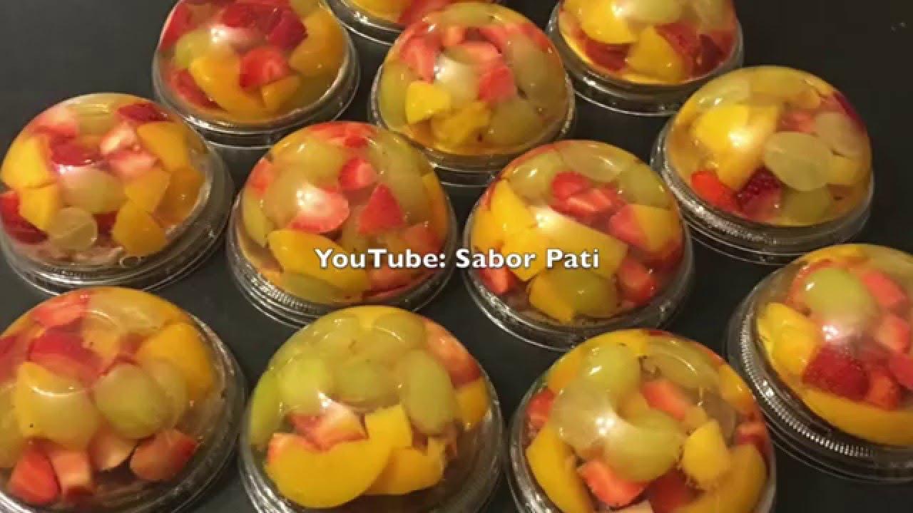 Gelatinas transparentes individuales con fruta - Como hacer melocoton en almibar ...