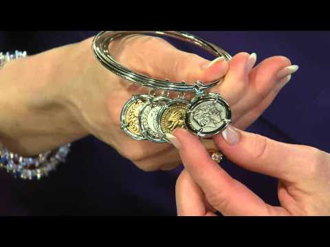 The Elizabeth Taylor Set of 5 Silvertone Coin Charm Bangles with Mary Beth Roe
