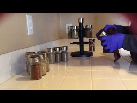 ASMR Cleaning Dusting Wiping Spraying Organizing Spice Rack (no Talking No Tapping)