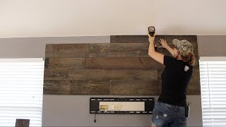 DIY Wood Wall and Floating Shelves
