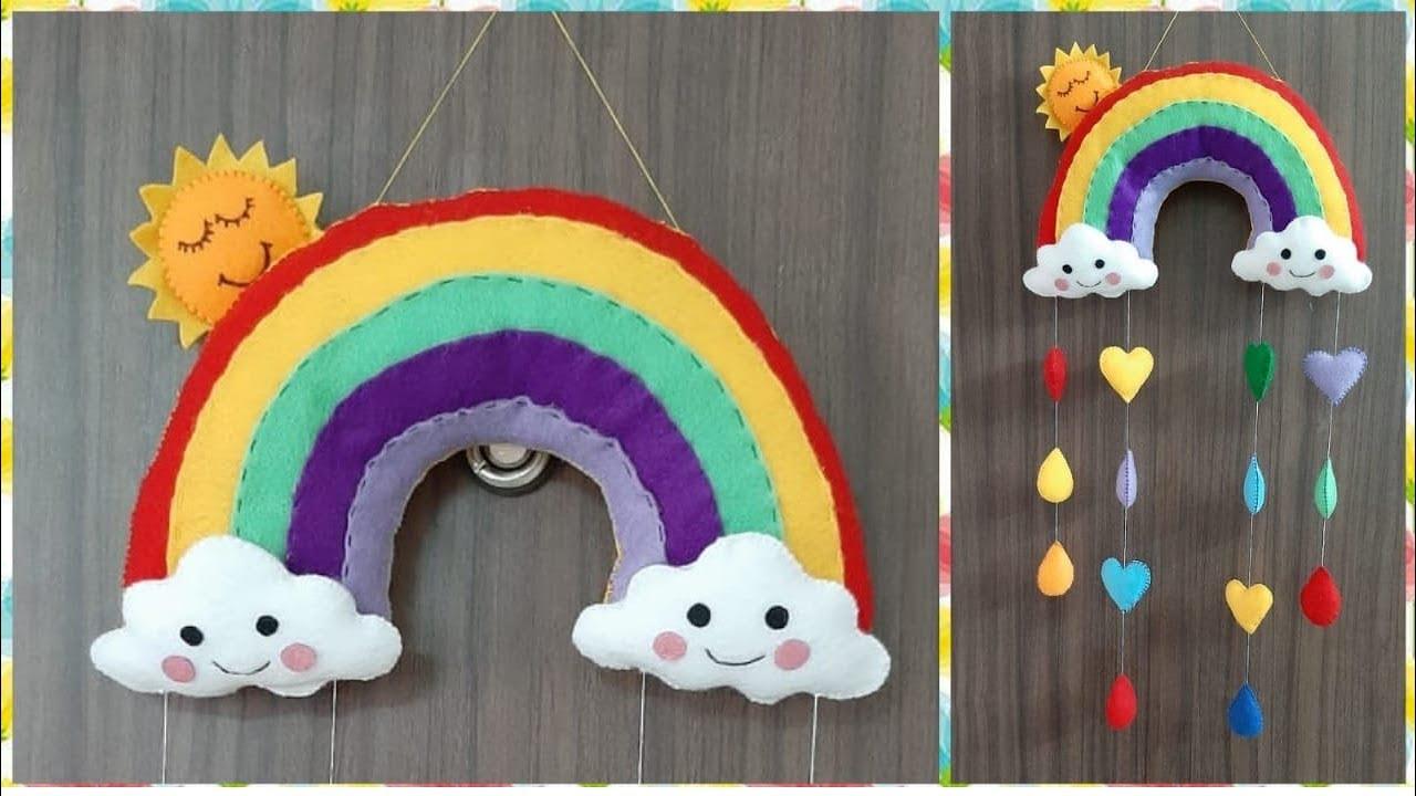 Diy Felt Rainbow Wall Hanging Wall Decor Nursery Decor Kids Room Decor Ideas Youtube