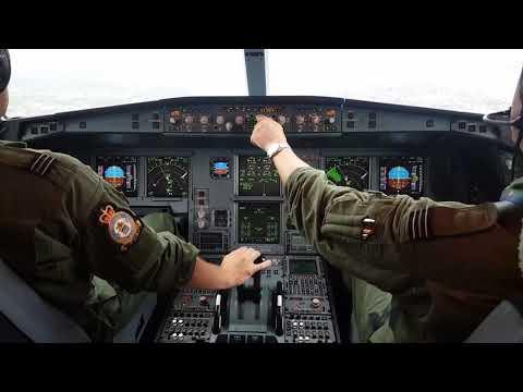 RAF Airbus 330-200 Cockpit Landing Calgary CYYC