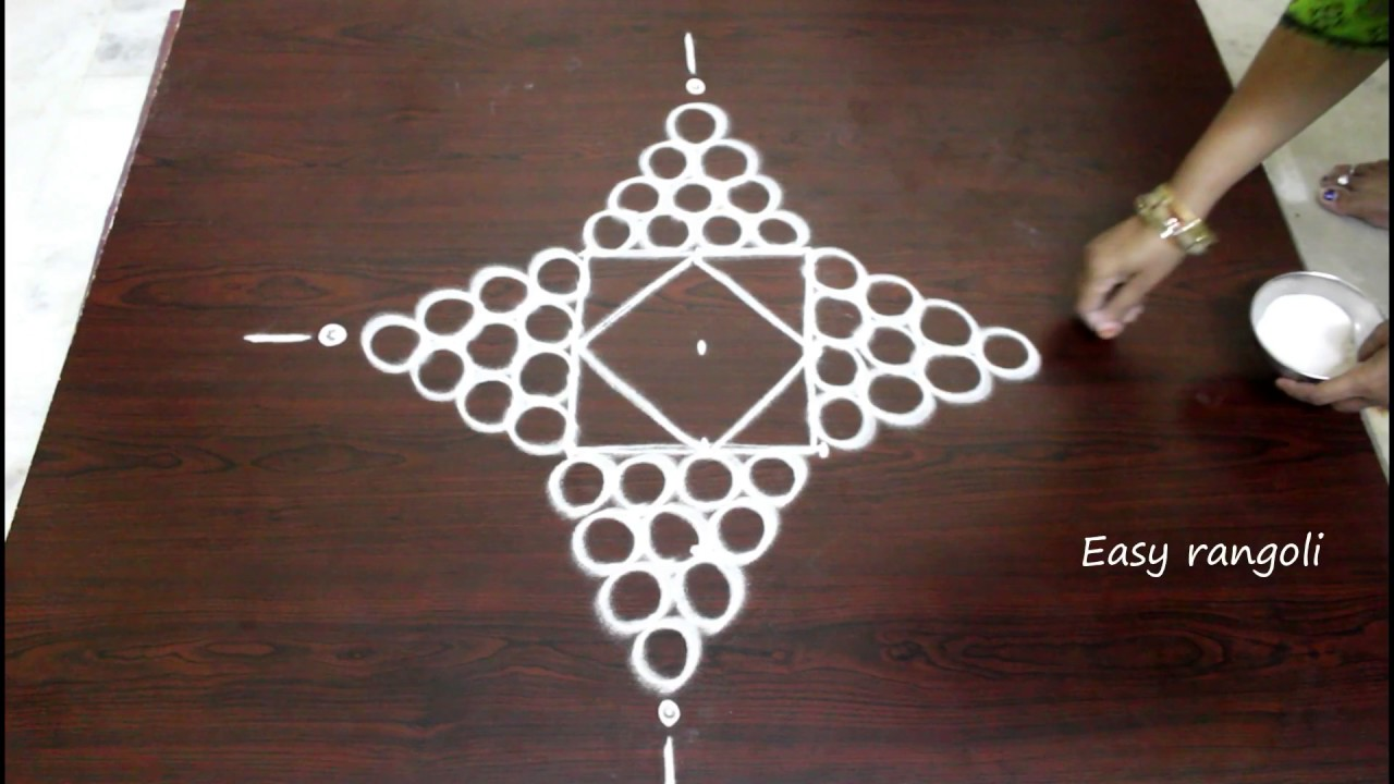 rangoli designs for diwali with 5 to 1 straight dots
