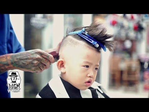 Little Boy Haircut - Skin Fade Pompadour with some Razored Line [Liem Barber's Collection]