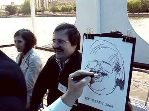 Шаржист на свадьбе рисует шаржи на речном трамвайчике