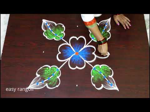flower kolam designs with 5 dots - easy color rangoli designs - simple muggulu - daily rangavalli