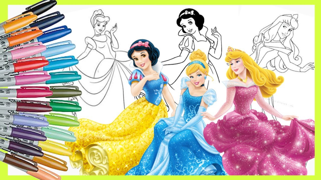 Coloring Disney Princess Cinderella Aurora Snow White