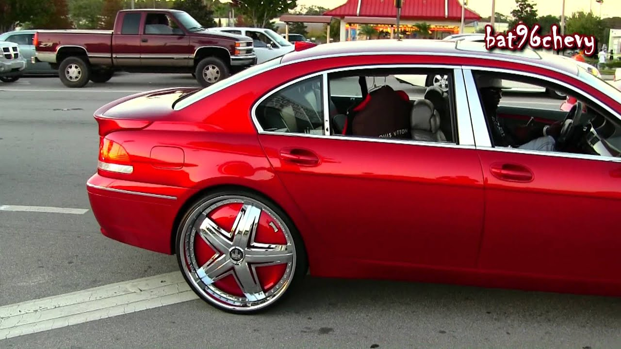 Candy Red BMW 745 Li On 26 DUB Felon Floaters