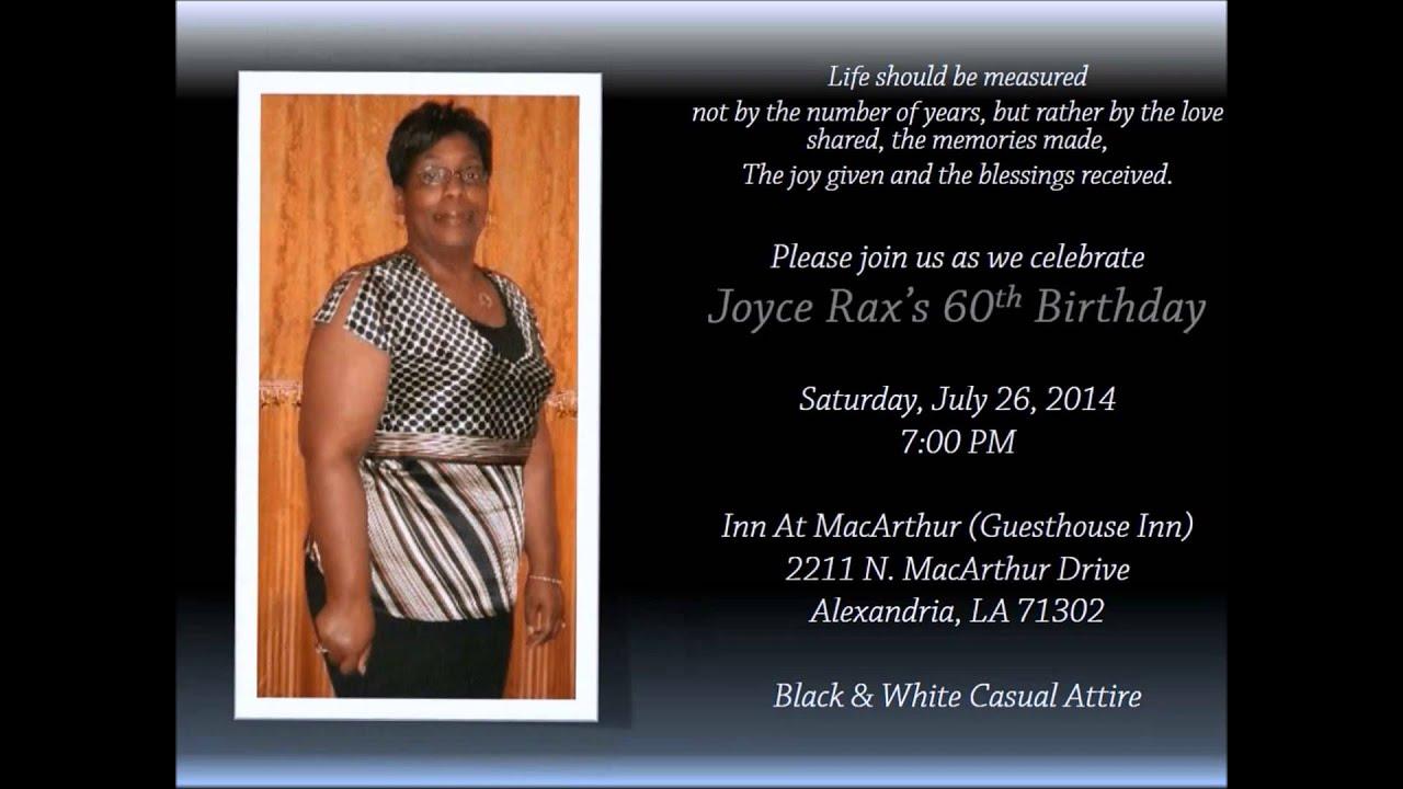 joyce rax s 60th birthday invitation youtube