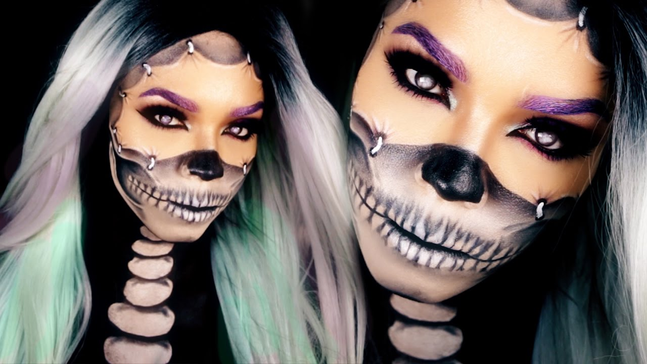 Half Skull Makeup Tutorial Reattached Face Halloween Skull Makeup - Halloween-face-makeup