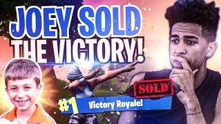8 Year Old Kid Tried to Help Me Win! JOEY SOLD! Fortnite Battl…
