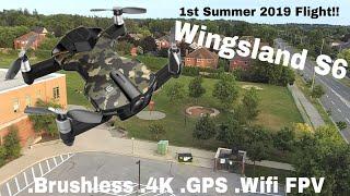 Wingsland S6. Brushless, 4k video pocket drone. 1st Summer 2019 Flight