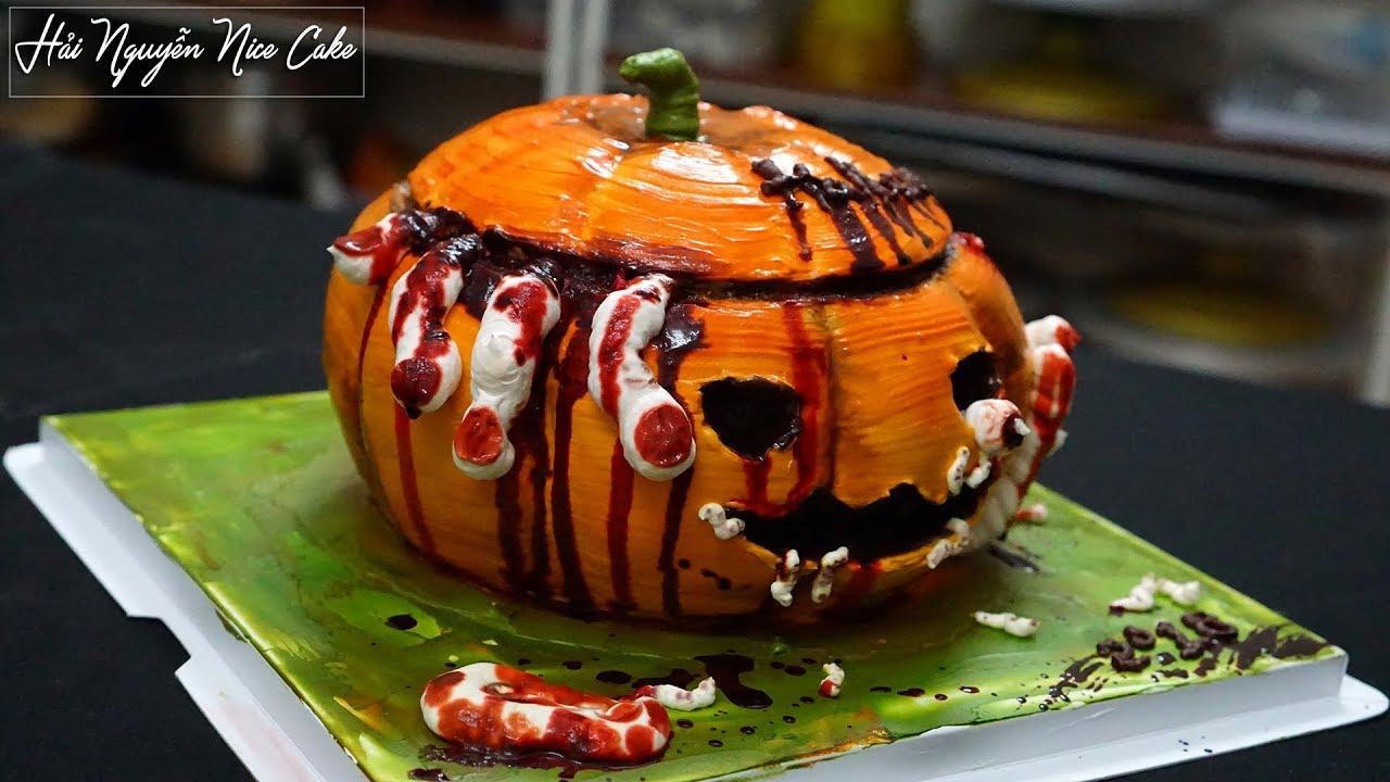 Trang Trí Bánh Sinh Nhật Mừng Halloween – Decorate Hallowen Pumpkin Cake