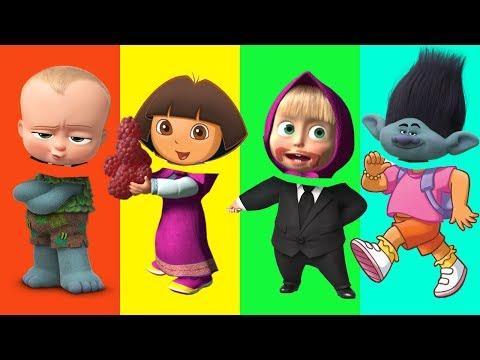 Wrong Heads Boss Baby Dreamcast Trolls Dora Masha and the Bear Finger Family Nursery Song