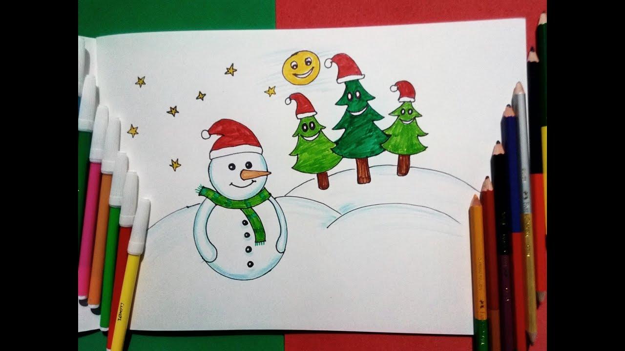 how to draw snow man and christmas tree  christmas