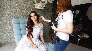 Фотографирую девушку в образе невесты для портфолио.