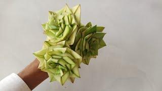 Cách làm hoa hồng bằng lá dừa đơn giản, đẹp (c. 2) #TOITNT