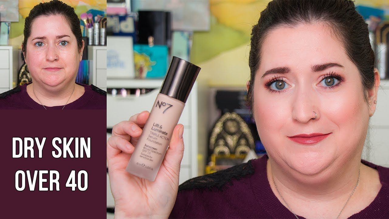 No 7 LIFT & LUMINATE TRIPLE ACTION SERUM FOUNDATION | Dry Skin Review &  Wear Test | FOUNDATION FEST