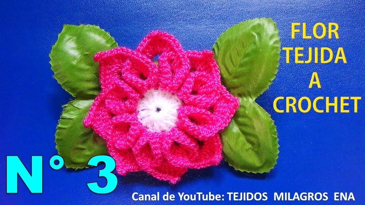 Flor tejida a crochet para tejer tapetes o carpetas con flores paso ...