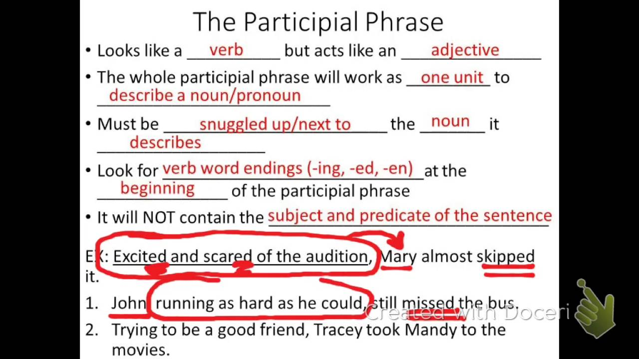 what is a participle phrase