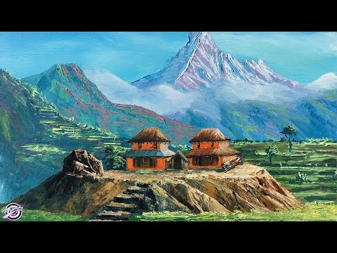 Typical Nepali Village | Landscape Painting | Palette Knife Painting | Art Candy
