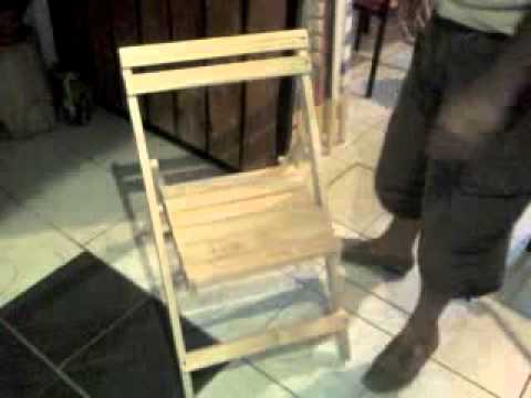 Silla plegable de madera 71 youtube for Bancas de madera para jardin
