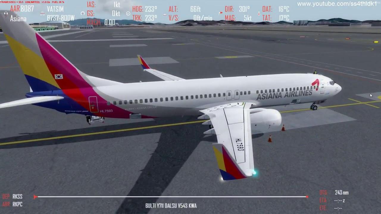 P3D v4 4 PMDG 737 Asiana 8707,8704 RKSS-RKJJ-RKSS with real