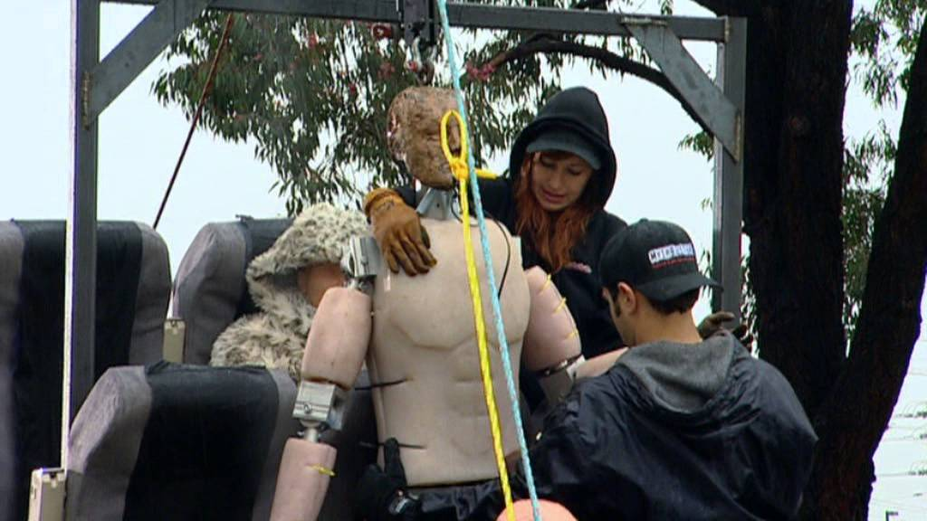 the physics driven experiment of the killer brace position in the mythbusters episode killer brace p