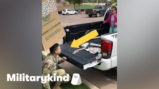 Soldier jumps out of box to surprise daughter | Militarykind