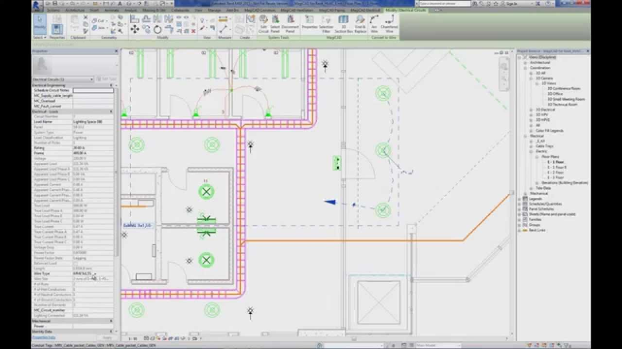 Magicad 2014 11 For Revit Supply Cable Routes With Cable