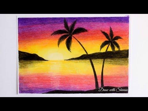 Easy Landscape Using Oil Pastels Landscape Drawing For