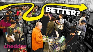 Why Supermarket Lines Are Intentionally Getting Longer - Cheddar Explains