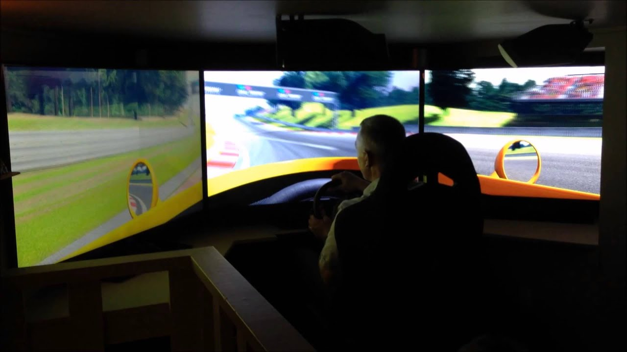 racing sim 50 inch triple screen - YouTube: http://www.youtube.com/watch?v=187QIqOJdgc