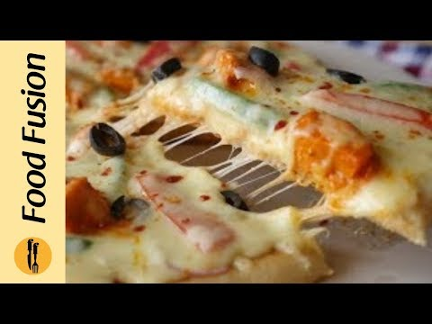 Tawa Chicken Tikka Pizza Without Yeast Recipe