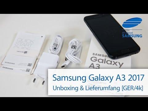 Samsung Galaxy A3 2017 Unboxing Lieferumfang deutsch 4k