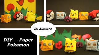 DIY| 3 mins Pokemon Origami (Pikachu, Squirtle, Charmander + Pokeball) 摺小精靈| GN Zimetra