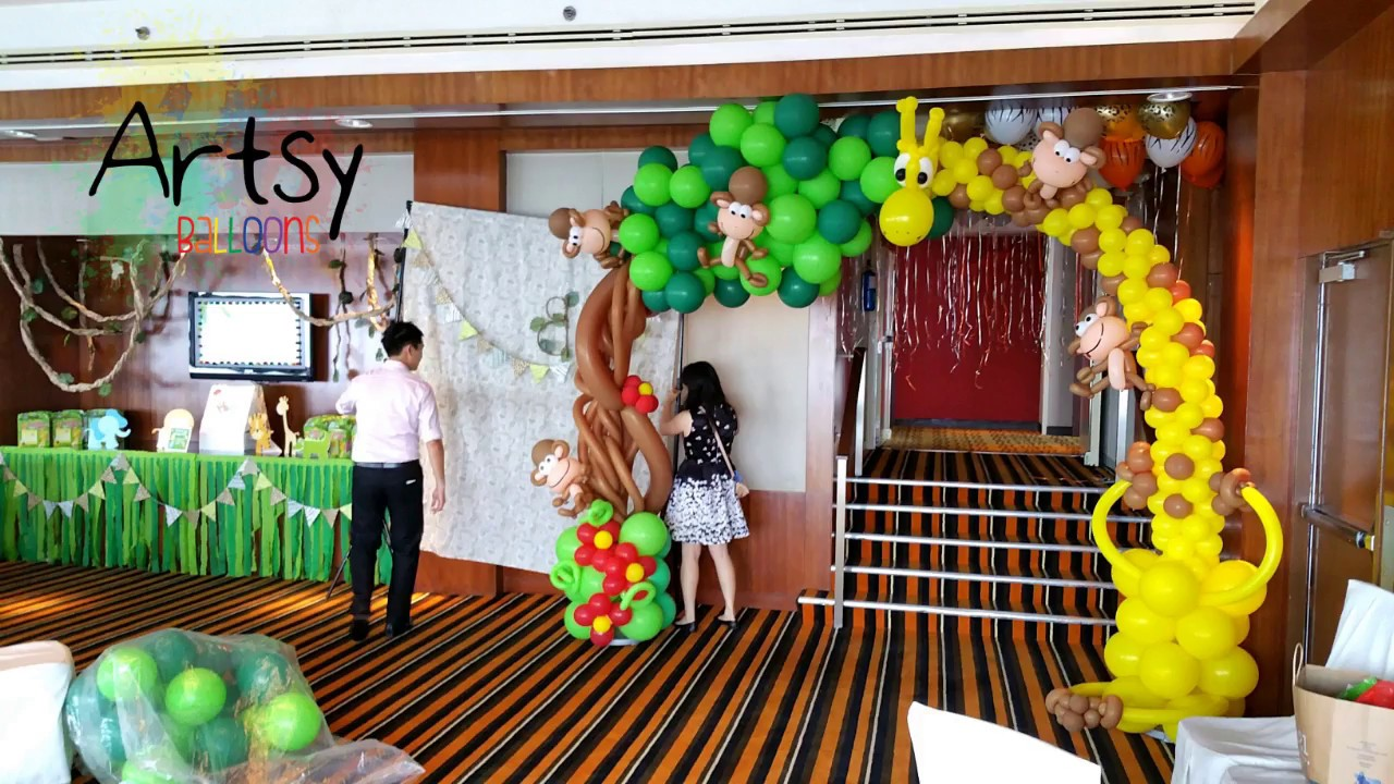 Decoracion De Fiesta Animales De La Selva Youtube