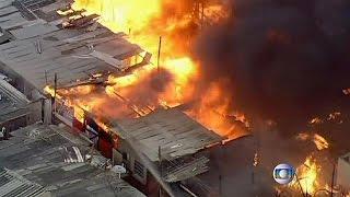 Sao Paulo'nun gecekondu bölgesinde yangın