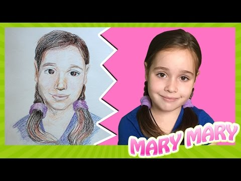 Художник рисует портрет карандашом. Портрет Мери цветными карандашами.