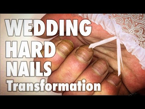 HARD NAILS WEDDING TRANSFORMATION 💅LONG GEL NAILS EXTENSION & EASY NAIL ART DESIGN MANICURE AT HOME