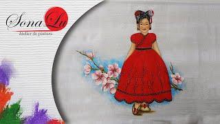 Menina com Cerejeira em Tecido (Parte 1) Sonalupinturas