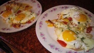 Как приготовить яичницу. Глазунья. Fried eggs. Recipe fried eggs.